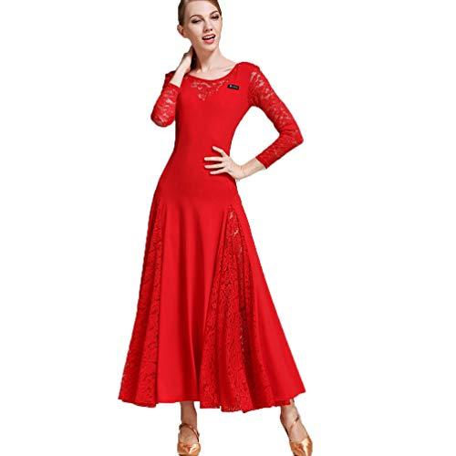 JRYYUE Ballsaal Tanzkleider Frauen Leistung Tüll Lange ärmel Natürliches Kleid Moderner Tanz Elastisch Walzer Wettbewerb ()
