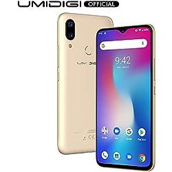 "UMIDIGI Power Smartphone Libres Android 9 Pie Teléfono Inteligente Dual SIM 6.3"" FHD + 4GB RAM 64GB ROM Teléfono móvil 16MP + 5MP Cámara 5150mAh Batería 18W Carga rápida [Oro]"