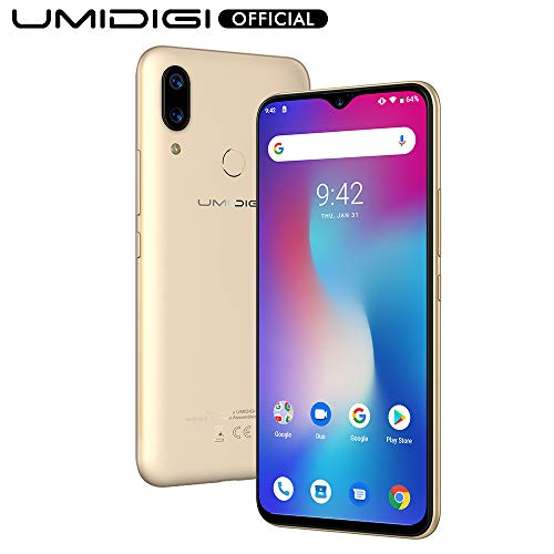 UMIDIGI Power, Smartphone Android 9.0 Pie 5150mAh 18W 6.3″FHD+ Notch a goccia 4GB+64GB Octa-Core Helio P35 Fotocamera 16MP+5MP, NFC, Global Version – Oro