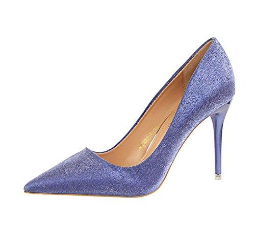 45f6d29246 XINJINGS Fashion High Heels Schuhe Party Hochzeit Frauen Pumps Heels OL  Kleidung Schuhe GWS 127 Blau