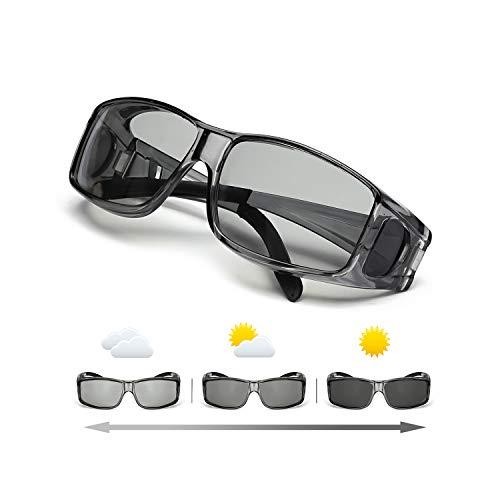 IGnaef Polarisierte Photochrome Sonnenbrillen Rechteckiger Rahmen Fahren Angeln Outdoor Aktivitäten 100% UVA UVB Schutz (Grau)