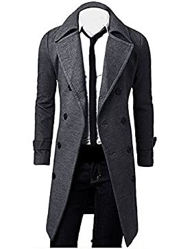 OverDose Hombres de invierno Slim elegante Trench Coat Double Breasted Chaqueta larga Parka (S, Gris)