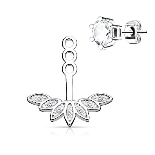 BlingKing - 1 Ohrstecker Ear Jacket Paved Peacock Feather - Ear Cuff/Schaukel-Ohrring/Pendel-Ohrring - Stecker + Anhänger - Silber