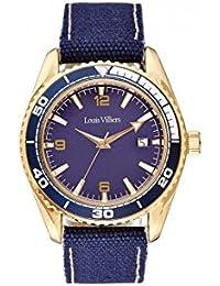 Reloj hombre Louis Villiers reloj 43 mm de acero azul y brazalete azul piel lv1041