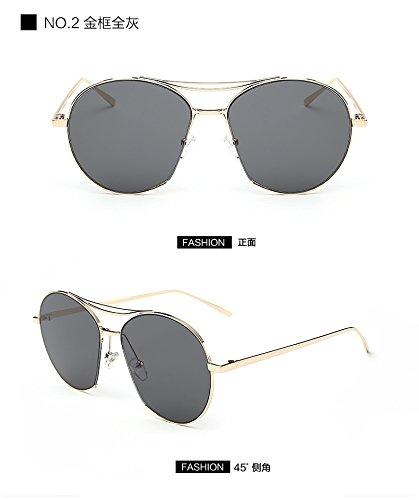 JUNHONGZHANG Trend Gläser Liebhaber Sonnenbrille Halbkreis Trimmen Sonnenbrille Transparent Big Frame Sonnenbrillen Super Leichte Sonnenbrille, Gold Rahmen Voll Asche