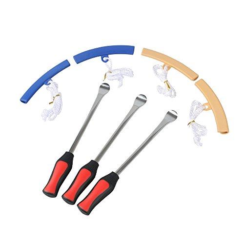 leeko 3PCS Tire Hebel Werkzeug Löffel + 4pcs Felge, Anfahrschutz Tool Kit für Motorrad Reifen wechseln entfernen