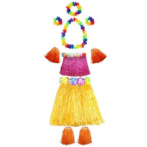 Teilig) - Hula Gras Rock mit Blumen Leis Kostüm Set für Kostümpartys, Veranstaltungen, Geburtstage, Strand Feiern und Luau Hawaii Party ()