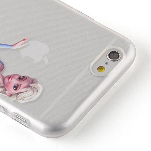 "iPhone 6 Hülle, JAMMYLIZARD Transparentes Sketch Back Cover aus Silikon mit Muster für iPhone 6 / 6s 4.7"", KRATZENDE KATZE Elsa"