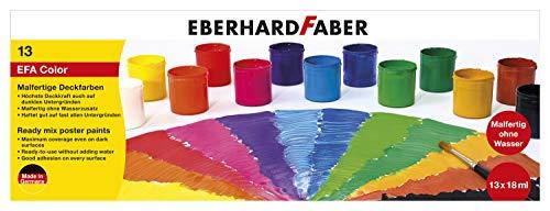 Eberhard Faber 575613 Malfertige Deckfarben, 13 Näpfe mit je 18 ml Farbe, bunt