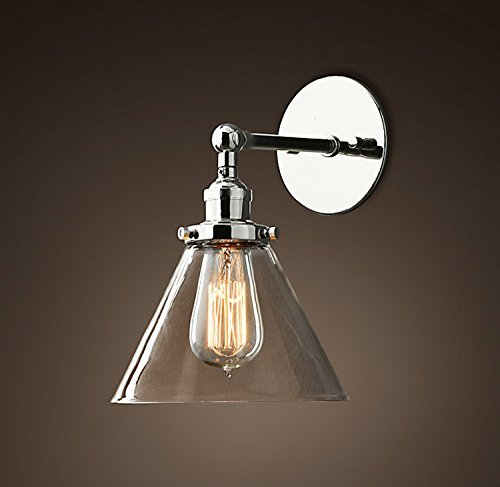 Saint Mossi® Vintage Industrial Modern Contemporary Glass Lampholder Sconce Wall  Lights Shade Edison