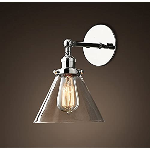 Chrome wall lights for living room amazon saint mossi vintage industrial modern contemporary glass lampholder sconce wall lights shade edison aloadofball Image collections