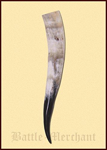 Battle-Merchant Trinkhorn aus echtem Horn ca. 0,75 Liter - Methorn Drinking horn Mead für Mittelalter, Wikinger und LARP Bier Horn