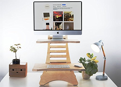 Humbleworks Stan2 | Height adjustable STANDING DESK for LAPTOP and DESKTOP users | 100% premium plywood | SIT-STAND DESK convertor | Made in Britain