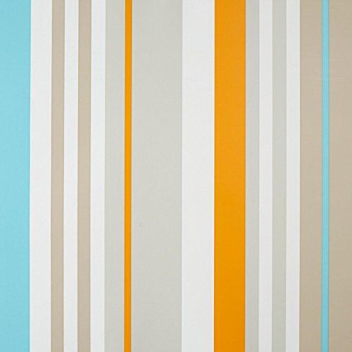 CASELIO ONLY Boys 64876030Vliestapete Streifen in Farben Weiß, Grau, Orange und Türkis