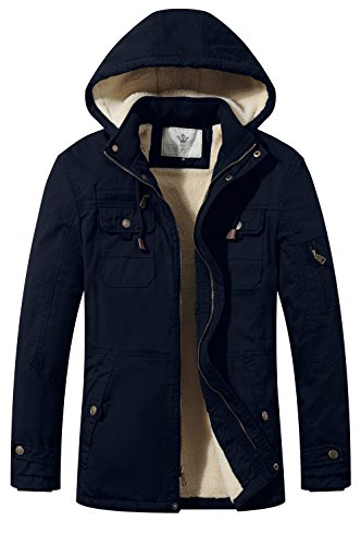 Wenven giacca a vento parka uomo cotone pesante con cappuccio marina x-large