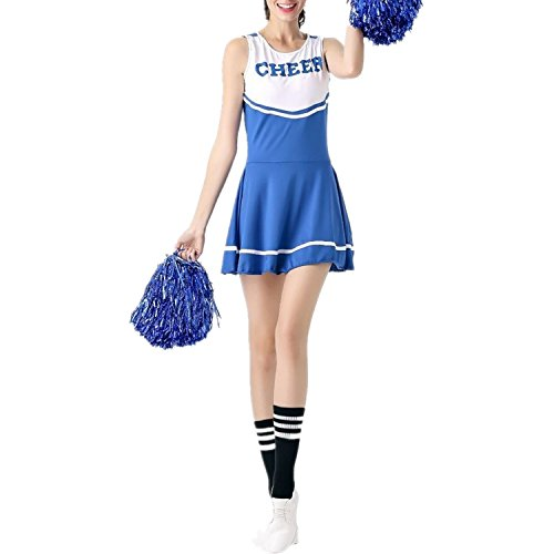 fadirew Damen Cheerleader Kostüm Outfit College Kostüm Sports Musical High School Girl Uniform Party Halloween-Kostüm Outfit–6Farben M - College-halloween-party-idee