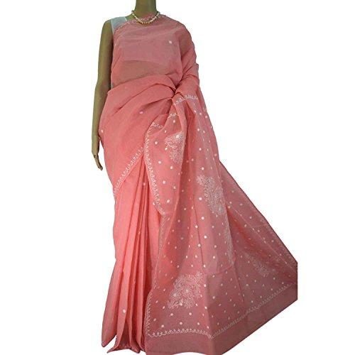 R'ZU Women's Pinkish Peach with White Cotton Lucknowi Chikankari Saree