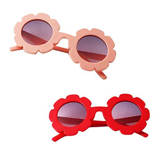 Homyl Süß Sonnenblume Sonnnbrille Kinder Mädchen Polarisierte Brille Partybrille Sportbrille Baby Kostüm Gläser - Pink + Rot