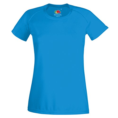 Fruit of the Loom Damen T-Shirt Ss075m Schwarz - Azurblau