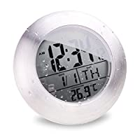 Elegantly designed clock with four heavy-duty suction cups for secure fixing on even surfaces;Stainless splash proof aluminium frame resistant to high temperatures and increased humidity;Includes integrated thermometer with digital temperature displa...
