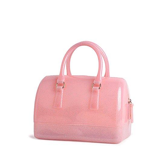 Medium Boston Handtasche (Schwarz Handtasche Messenger Boston Tasche Europa Und Den Vereinigten Staaten Mode Handtaschen Medium Umhängetasche Kissen Geleebeutel,FlashPink-OneSize)