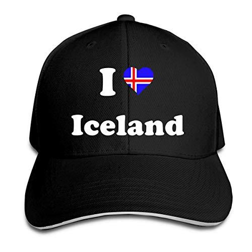 angwenkuanku Gorra de Béisbol para Mujeres y Hombres Islandia Amor Algodón Sombrero Plano Gorras Ajustables de Aficionado Deportivo Vintage Negro magnífico 19219