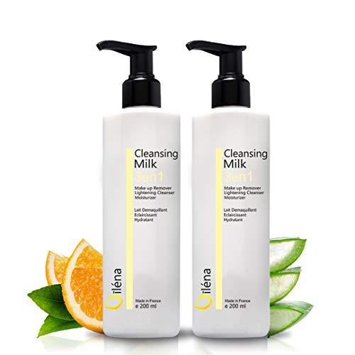 Latte micellare detergente viso con Vitamina E e Aloe Vera 3 in 1 Struccante anti-macchie Detergente pori Latte idratante Contorno occhi Trucco waterproof e imperfezioni 2 X 200 ml