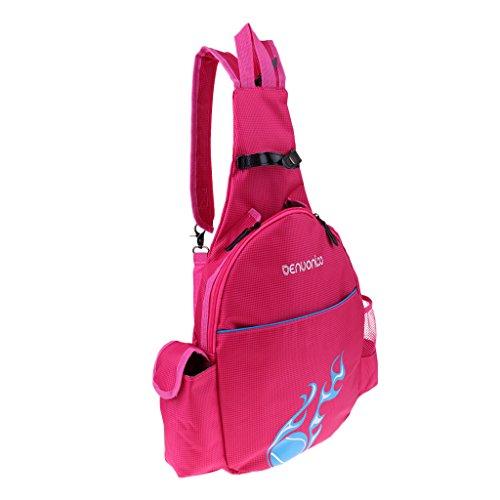 MagiDeal Wasserdicht Tennisschläger Rucksack Tasche Badminton Backpack Sporttasche Schulrucksack für Erwachsener Kinder - Rose Rot