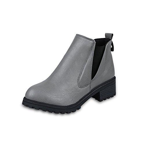 Stiefel Damen Sunnyadrain lässig Vliese Reine Farbe Patchwork Knöchel High Heel Herbst Winter Schuhe Wedges High Heel Stiefeletten für Frauen