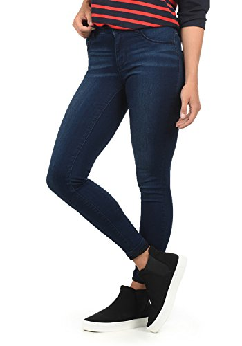 JACQUELINE de YONG Feli Damen Jeans-Hose Röhrenjeans lange Hose aus hochwertiger Baumwollmischung Skinny Fit Stretch High-Waist, Farben:Dark Blue Denim, Größentabelle:XL/ L30 (Hosen Baumwollmischung)