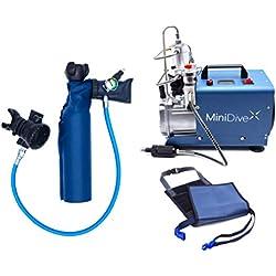 MiniDive Mini Bouteille De Plongée 0,5 L Bleue en Aluminium avec Compresseur Haute Pression Et Harnais de Maintien I Equipement De Plongée Unisex Respiration sous Marine