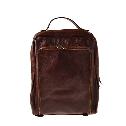 Pellevera Roma Sac à dos en cuir italien. (rouge) brun