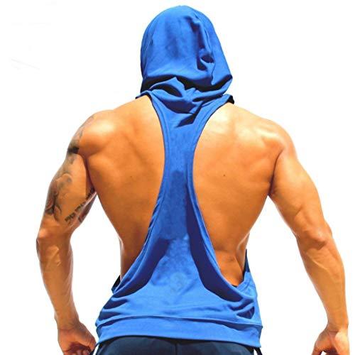 Homme Gilet Coton Fitness Veste de Sport à Capuche Running Running Yoga Gym Fitness Short de Sport Gilet Respirant Lingerie