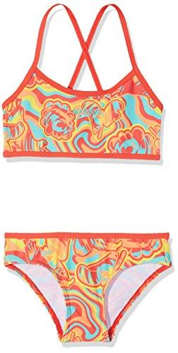 Speedo Mädchen Colourmelt Allover Crop Top 2 Piece Swimsuit, Watermelon/Fluo Orange/Spearmint, 32