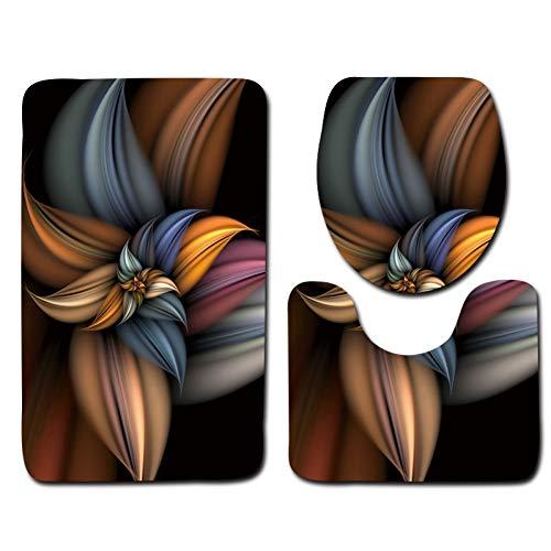 WWDDVH 3D Geprägte Memory Sponge 3 Stücke Badematte Set Absorbent Badezimmer Teppiche Set Anti-Slip Bad Fußmatten Wc Teppiche-Mandala