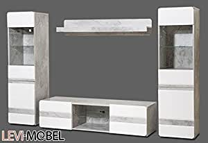 wohnwand 4 tlg wohnzimmer lowboard vitrine wei hochglanz beton optik neu 451638. Black Bedroom Furniture Sets. Home Design Ideas