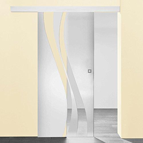 Schiebetür Glas-Schiebetür Zimmertür 880x2035mm Innentür Komplettset mit Laufschiene & Glastür (Wellenförmig satiniert + Quadratgriff)