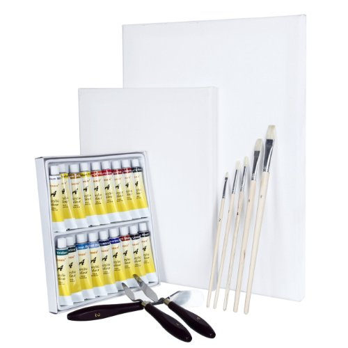 artinar-set-pittura-completo-malta-2-tele-bianche-18-acrilici-5-pennelli-e-3-spatole-per-principiant