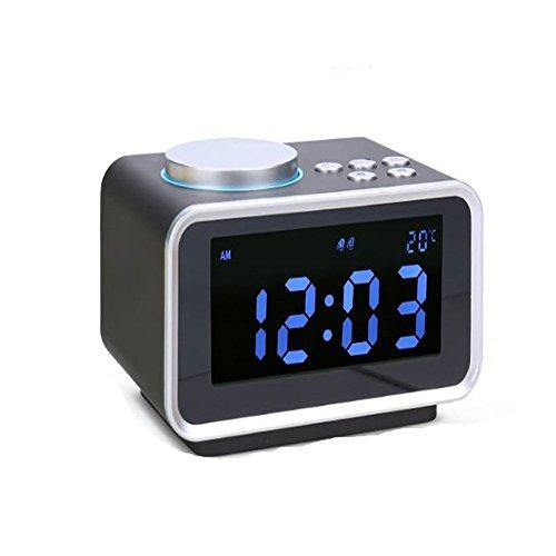 WANGZZZ Music Alarm Clock Radio, Electronic Creativity, Digital Night Light Mute Bed Head, Student Simple, Multi-Function Clock Black - Bed Head Player