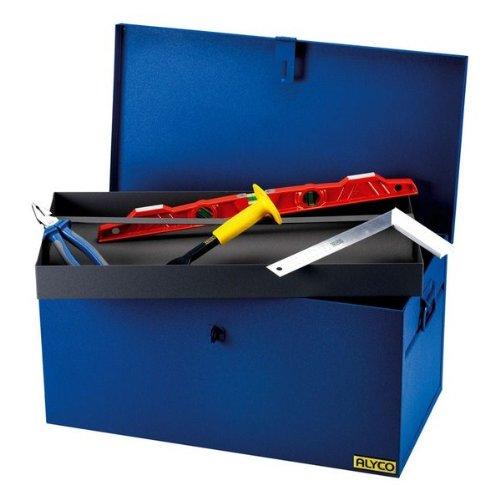 Baul metalico para herramientas con cierre para candado y bandeja inte