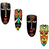 Home Decorative Terracotta Wall Hanging Multicolour Vodavudi Mask Pair & Egyptian Mask Combo-20 Cms. - 4 Pcs-Handcrafted Decorative Mask For Wall Decor, Room Decor And Gifts