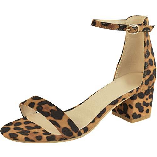 BHYDRY Sandalias Gruesas del talón de Las Mujeres del Tobillo de una Palabra del Leopardo de Las...