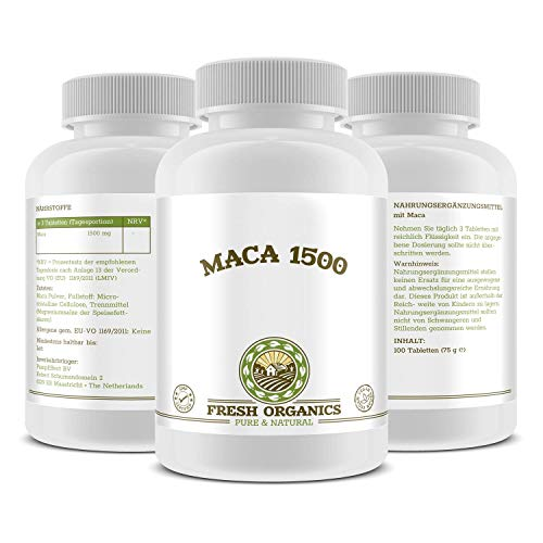 SPAR-PACK! 3x MACA-1500 (Maca-Wurzel) | = 300 Tabletten für 99 Tage | Vegan | Muskelaufbau, Vitalität, Wohlbefinden, Testosteron & Hormonelle Balance | Premium Qualität - -