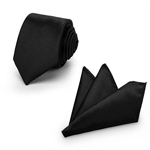 (Rusty Bob - Herren-Krawatte mit Einstecktuch + Fliege - erhältlich in verschiedenen Farben - zum Anzug, zur Taufe, Hochzeits-Set - 3-teilig - schwarz- (uni))