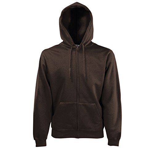 Fruit of the Loom Hooded Sweat-Jacket, Chocolate, L