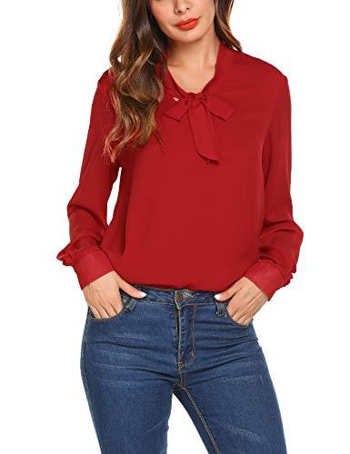 Camicie Donna di Chiffon Elegante Blusa Maniche Lunghe Camicia Camicetta Puro Colore Bluse con Scollo A V