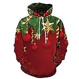 HDUFGJ Unisex 19D Druck Hoodie Kapuzenpullover Langarm Pullover Weihnachten Sweatshirt atmungsaktives und elastisches Sweatshirt Reißverschluss Fleece