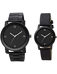 LegendDeal Stylish Analogue Black Dial with Quality Black Leather Strap and Stainless Steel Belt Stylish Watch for Boys-Girls, Mens-Women, Unisex Watch Combo (Couple Watches Pack of 2) - OM36133WAT