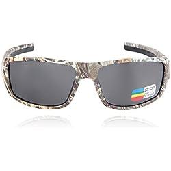 Queshark Brown camuflaje del bosque polarizados gafas de sol de marco y de los hombres libres del deporte a juego completa bolsa de microfibra – Marco de Marrón Camo - Lente ámbar (Camuflaje-Negro)