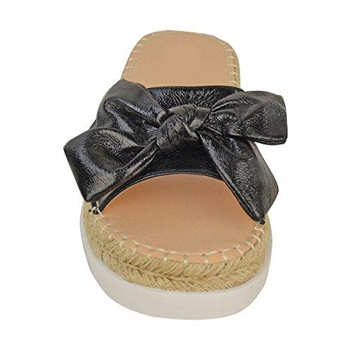 donna forma piatta Sandali Zeppa Slip On Scarpe Estive VACANZA Plateau Taglia nero similpelle pieghe